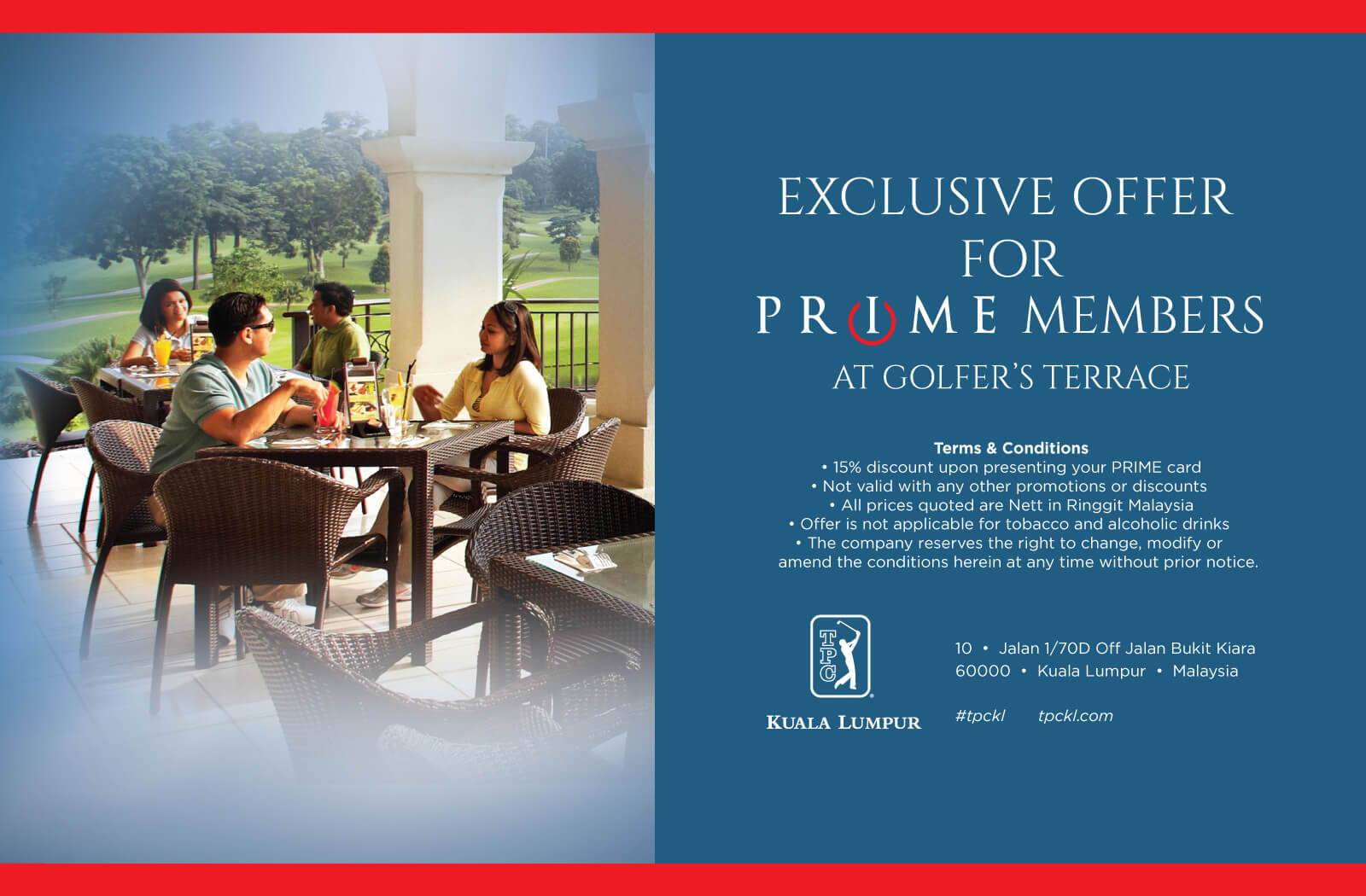 Exclusive offer for PRIME members at Golfer's Terrace